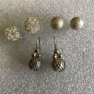 Silver Ball Earrings lot of 3